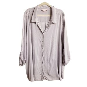 In Every Story Pinstripe Ruched Sleeves Blouse